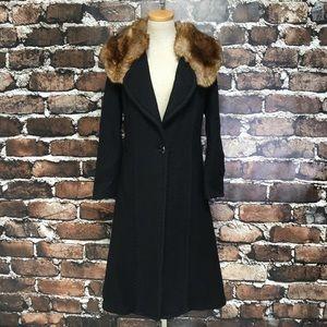 Tracy Reece Coat Long Trench Wool Mohair Fur